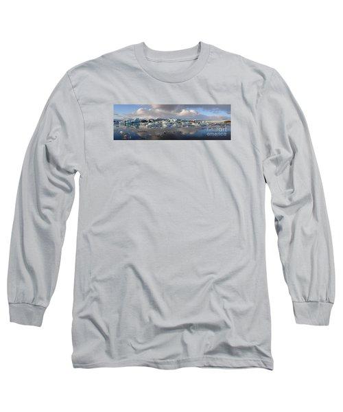 Jokulsarlon Glacier Lagoon Panorama Long Sleeve T-Shirt by IPics Photography