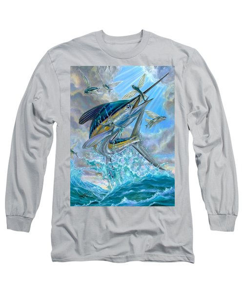 Jumping White Marlin And Flying Fish Long Sleeve T-Shirt