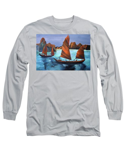 Long Sleeve T-Shirt featuring the painting Junks In The Descending Dragon Bay by Tracey Harrington-Simpson