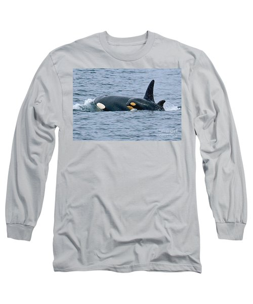 Long Sleeve T-Shirt featuring the photograph Killer Whale Mother And New Born Calf Orcas In Monterey Bay 2013 by California Views Mr Pat Hathaway Archives