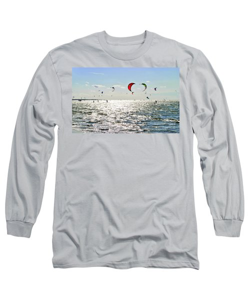 Long Sleeve T-Shirt featuring the photograph Kitesurfing In The Sun by Maja Sokolowska