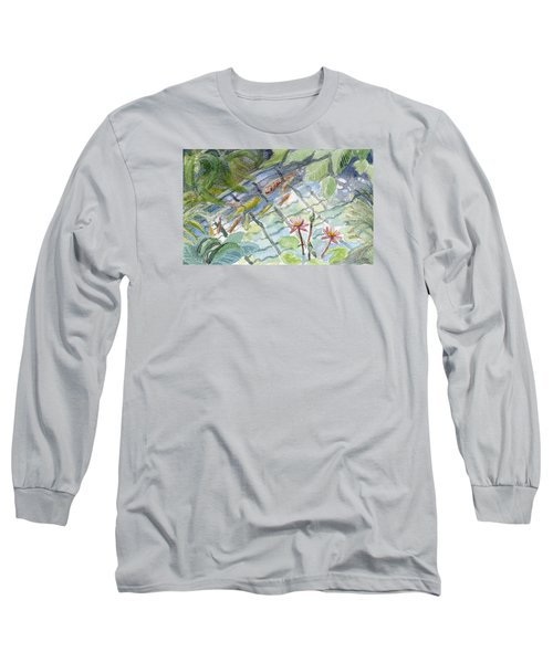 Koi Carp And Waterlilies. Long Sleeve T-Shirt