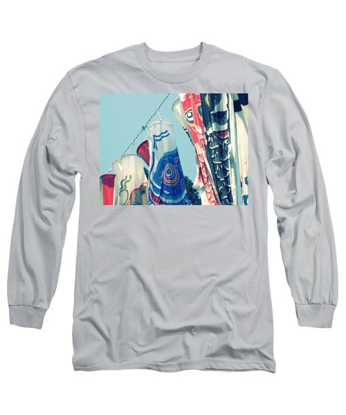 Koinobori Flags Long Sleeve T-Shirt by Rachel Mirror