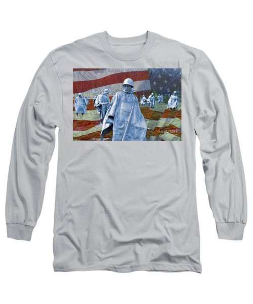 Korean War Veterans Memorial Bronze Sculpture American Flag Long Sleeve T-Shirt