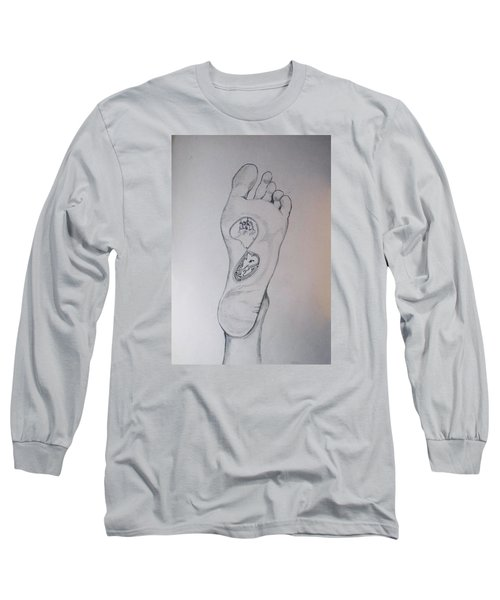Long Sleeve T-Shirt featuring the drawing Labyrinth Foot Pie Laberinto by Lazaro Hurtado