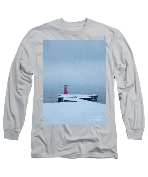 Lady In Red On Snowy Pier Long Sleeve T-Shirt