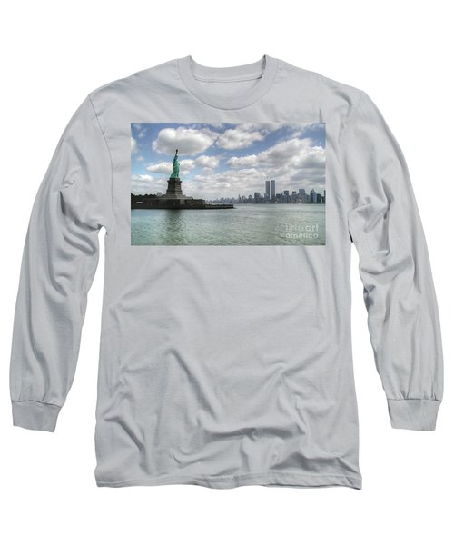Lady Liberty And New York Twin Towers Long Sleeve T-Shirt