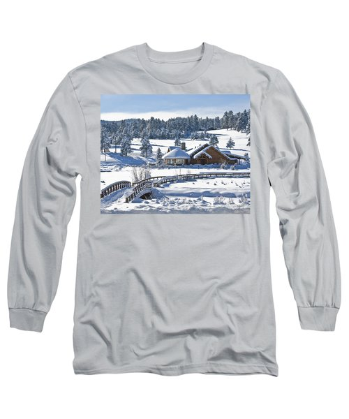 Lake House In Snow Long Sleeve T-Shirt