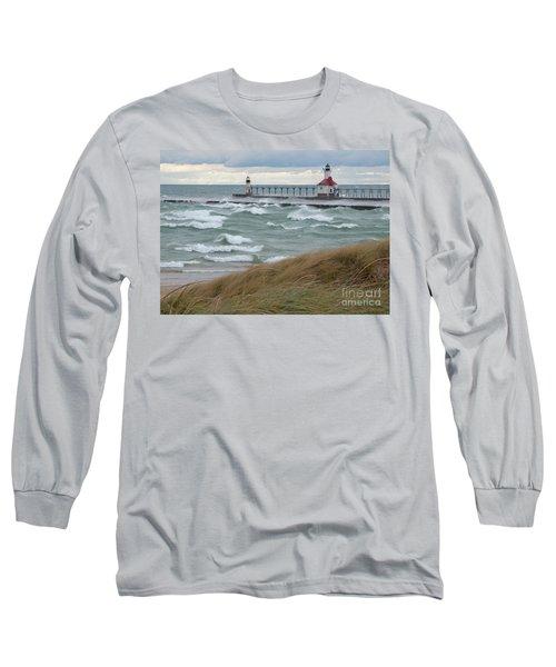 Lake Michigan Winds Long Sleeve T-Shirt by Ann Horn