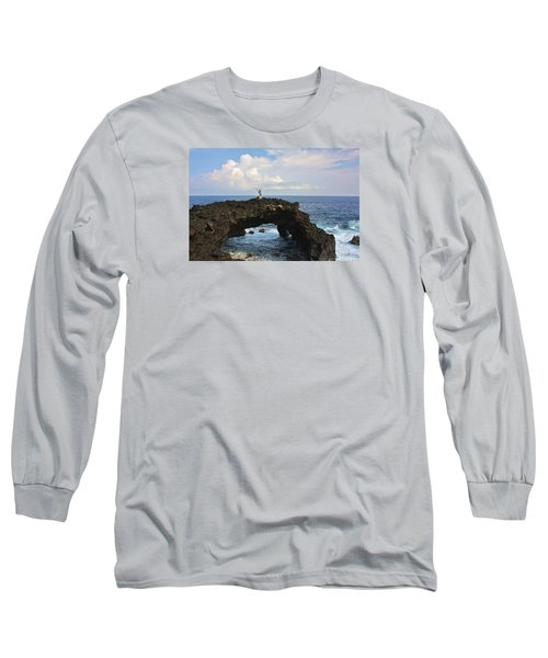 Lava Sea Arch In Hawaii Long Sleeve T-Shirt by Venetia Featherstone-Witty