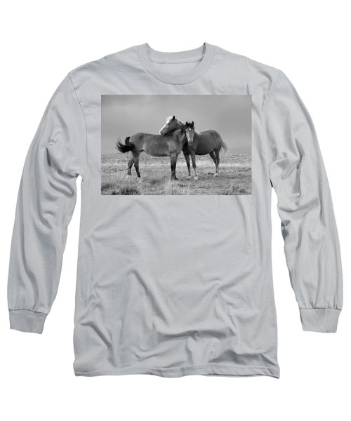 Lean On Me B And W Wild Mustang Long Sleeve T-Shirt