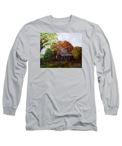 Long Sleeve T-Shirt featuring the painting Leaves On The Cabin Roof by Eloise Schneider