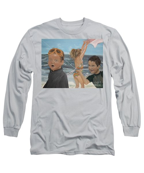 Long Sleeve T-Shirt featuring the painting Beach - Children Playing - Kite by Jan Dappen