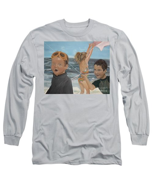 Beach - Children Playing - Kite Long Sleeve T-Shirt