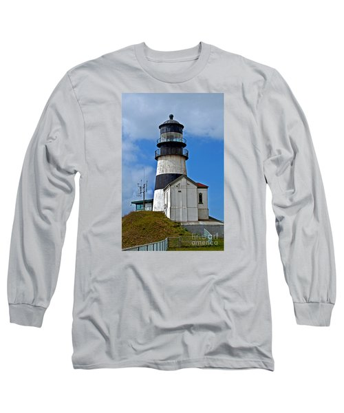 Lighthouse At Cape Disappointment Washington Long Sleeve T-Shirt by Valerie Garner