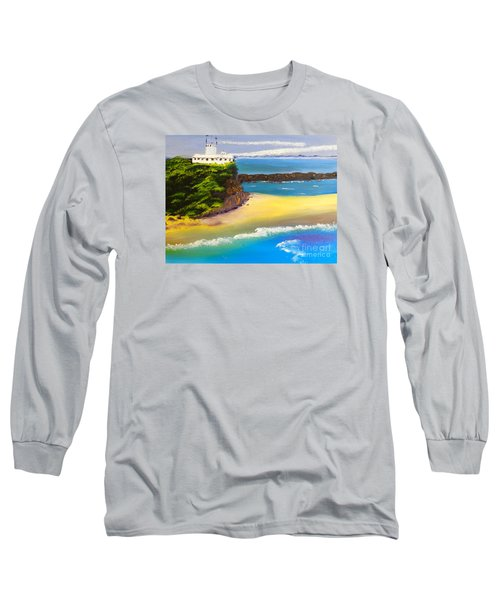 Long Sleeve T-Shirt featuring the painting Lighthouse At Nobbys Beach Newcastle Australia by Pamela  Meredith