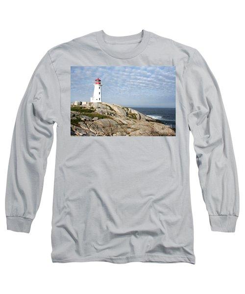Lighthouse At Peggys Point Nova Scotia Long Sleeve T-Shirt