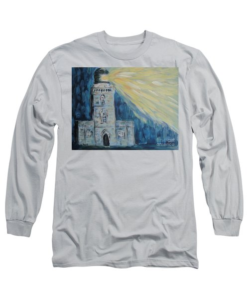 Long Sleeve T-Shirt featuring the painting Lighthouse by Maria Langgle
