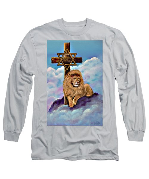 Long Sleeve T-Shirt featuring the painting Lion Of Judah At The Cross by Bob and Nadine Johnston