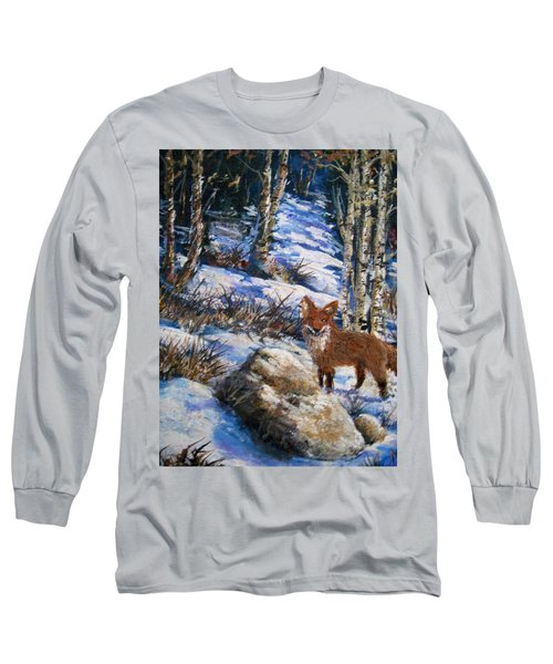Long Sleeve T-Shirt featuring the painting Little Fox by Megan Walsh