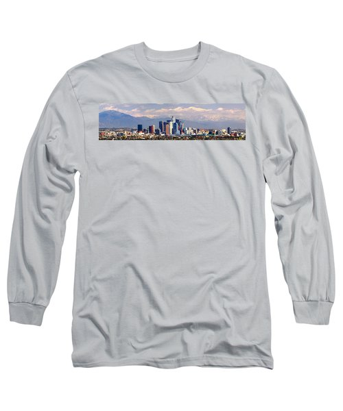 Los Angeles Skyline With Mountains In Background Long Sleeve T-Shirt by Jon Holiday
