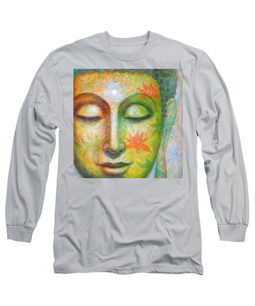 Long Sleeve T-Shirt featuring the painting Lotus Meditation Buddha by Sue Halstenberg