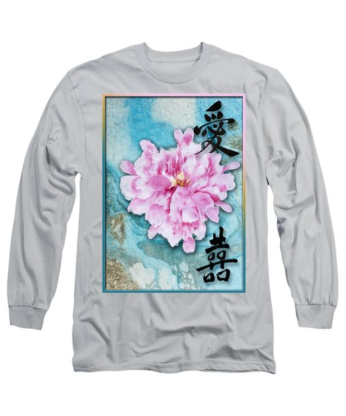 Long Sleeve T-Shirt featuring the mixed media Love Double Happiness With Red Peony by Peter v Quenter