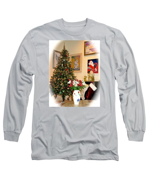 Love In Our Hearts And Santa In The Corner Long Sleeve T-Shirt by Phyllis Kaltenbach