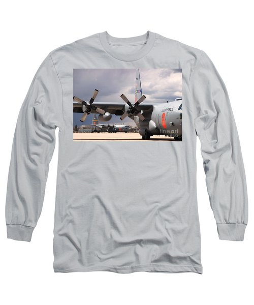 Long Sleeve T-Shirt featuring the photograph Maffs C-130s At Cheyenne by Bill Gabbert