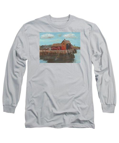 Maine Fishing Shack Long Sleeve T-Shirt by Christine Lathrop