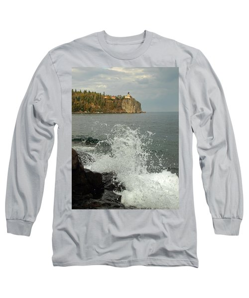 Long Sleeve T-Shirt featuring the photograph Making A Splash At Split Rock Lighthouse  by James Peterson