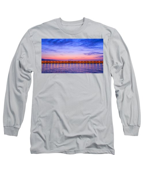Long Sleeve T-Shirt featuring the photograph Malaga Pink And Blue Sunrise  by Debra Martz