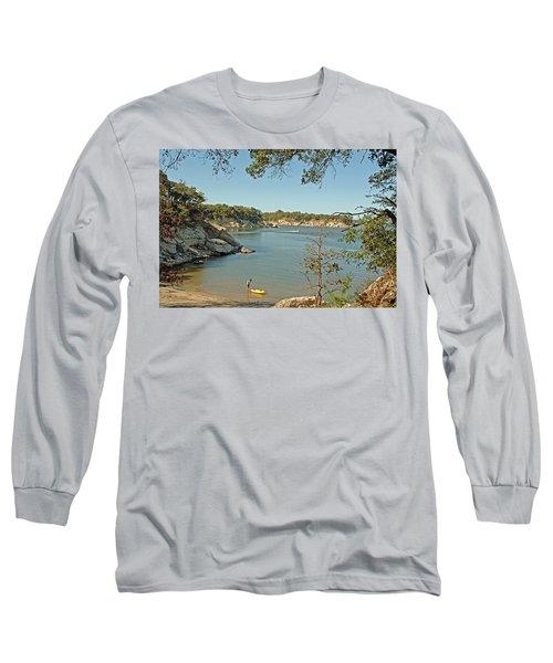 Man Going Kayaking Long Sleeve T-Shirt by Charles Beeler