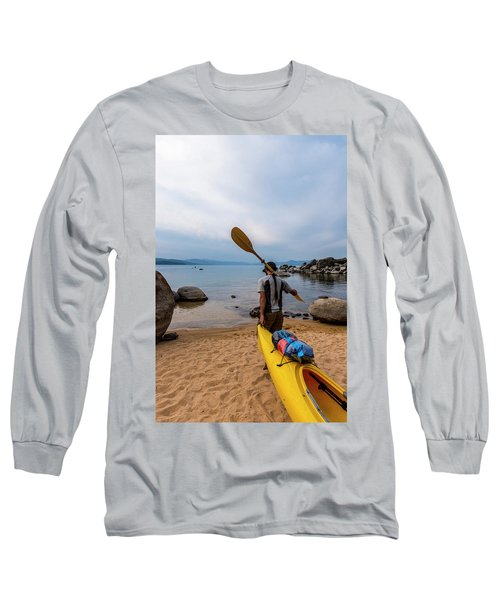 Man With A Paddle Over His Shoulder Long Sleeve T-Shirt