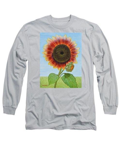 Mandy's Magnificent Sunflower Long Sleeve T-Shirt by Donna  Manaraze
