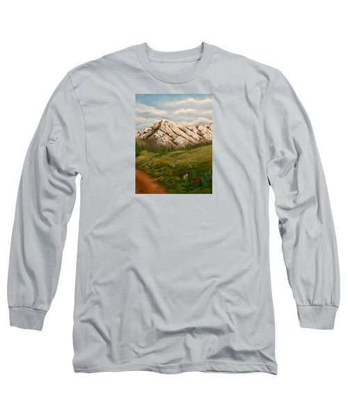 Maroon Trail Splendor Long Sleeve T-Shirt by Sheri Keith