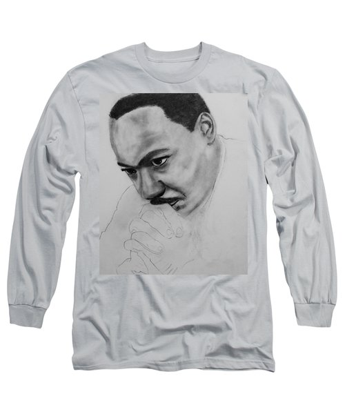Long Sleeve T-Shirt featuring the drawing Martin Luther King Jr. Mlk Jr. by Michael Cross