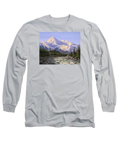 Majestic Denali Alaskan Painting Of Denali Long Sleeve T-Shirt by Karen Whitworth