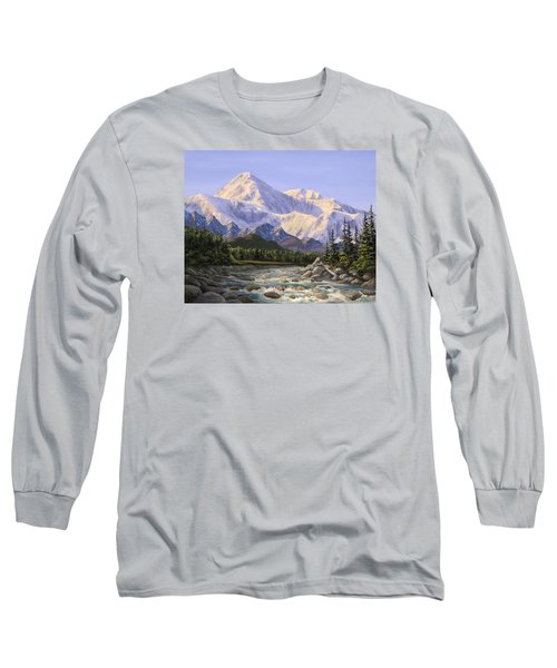 Majestic Denali Mountain Landscape - Alaska Painting - Mountains And River - Wilderness Decor Long Sleeve T-Shirt