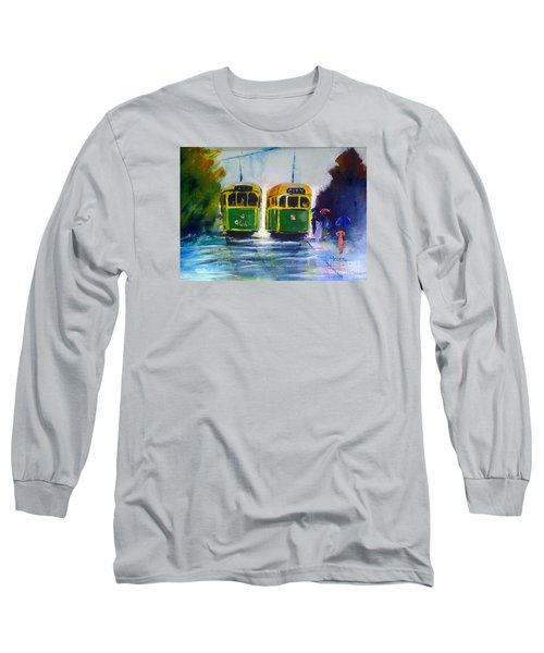 Long Sleeve T-Shirt featuring the painting Melbourne Trams by Therese Alcorn