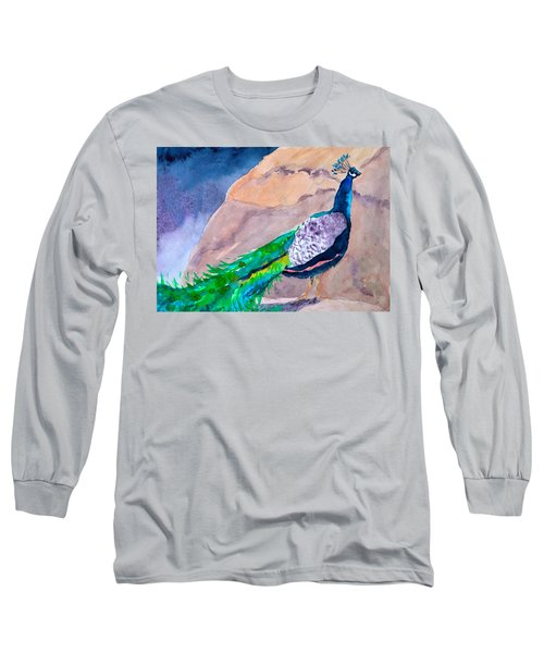 Mellow Peacock Long Sleeve T-Shirt by Beverley Harper Tinsley