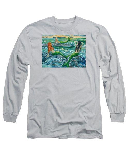 Mermaids On The Rocks Long Sleeve T-Shirt by Julie Brugh Riffey