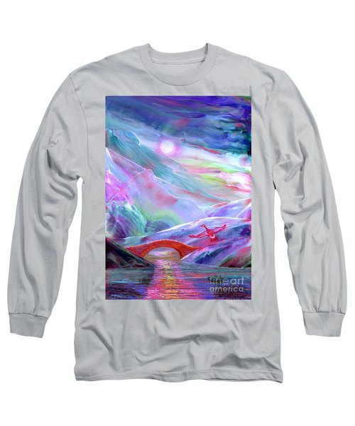 Long Sleeve T-Shirt featuring the painting   Midnight Silence, Flying Goose by Jane Small