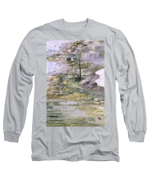 Minerva Springs Terraces Yellowstone National Park Long Sleeve T-Shirt