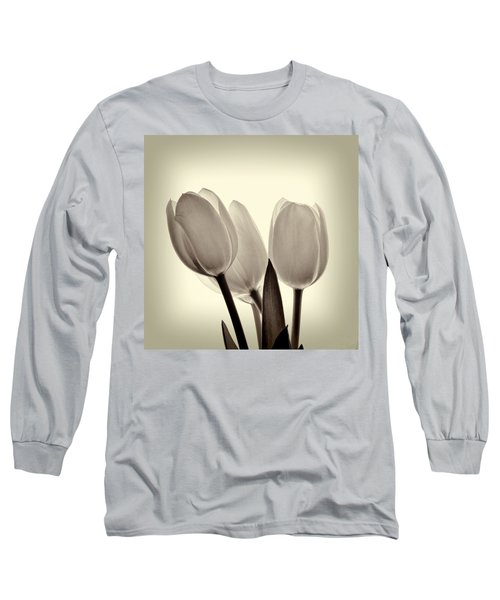 Monochrome Tulips With Vignette Long Sleeve T-Shirt