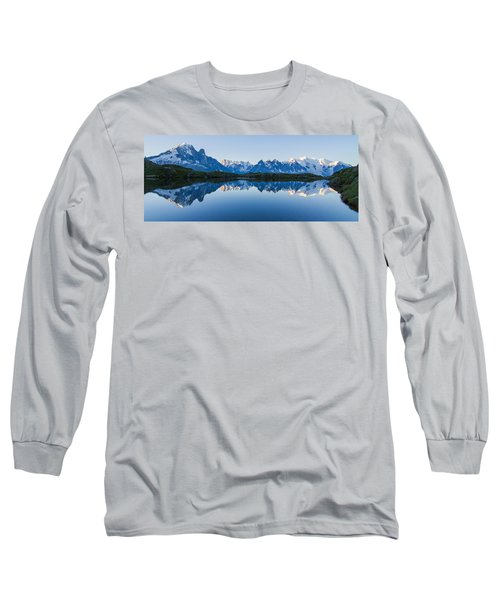 Mont Blanc Massif Panorama Long Sleeve T-Shirt by Mircea Costina Photography