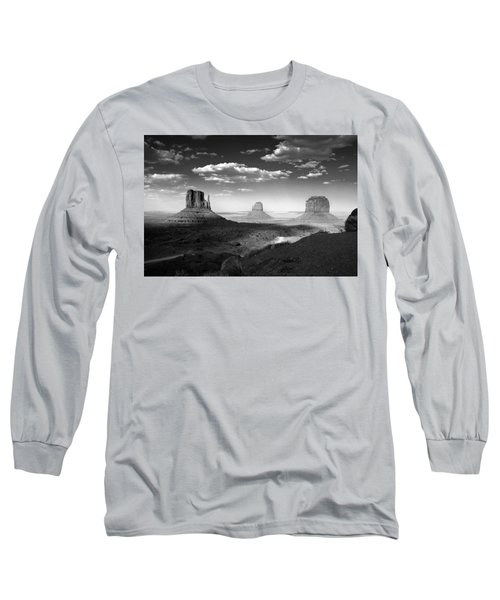 Monument Valley In Black And White Long Sleeve T-Shirt