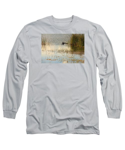 Long Sleeve T-Shirt featuring the photograph Moorhens In The Marsh by Rosalie Scanlon