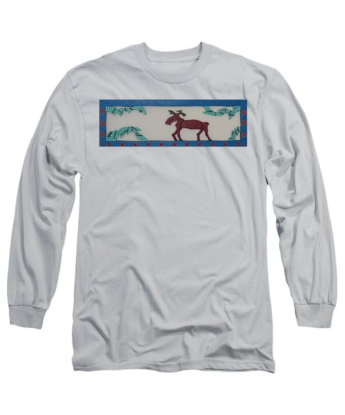Long Sleeve T-Shirt featuring the sculpture Moose Coming Home For Christmas by Robert Margetts