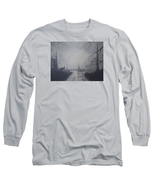 Long Sleeve T-Shirt featuring the painting Moose Swanson River Alaska by Richard Faulkner